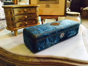 Antique Azure Velvet Box $150