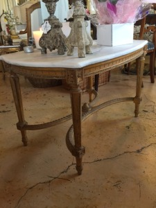 Vintage Louis XVI Style coffee table with Carrara marble top - SOLD