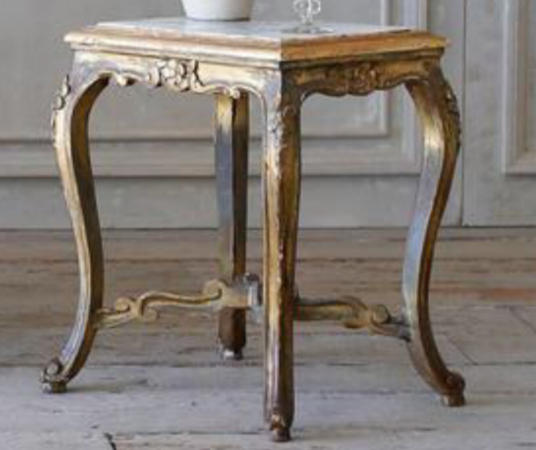 Louis XV Marble Top Burnished Gold Side Table - Vintage & Antique Furniture And Interior Design Accessories Portland