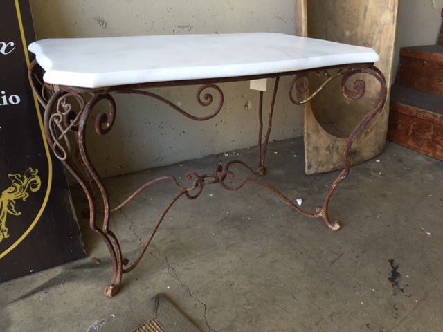 Antique French Iron Coffee table with Marble Top…$890 - Vintage Tables & Antique Furniture Portland, OR